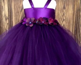 Eggplant tutu dress with hydrangea flowers and removable sash, flower girl dress