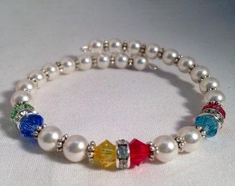 Personalized Grandmother's birthstone bracelet, mother's birthstone bracelet, Swarovski crystal bracelet, family birthstone