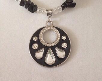 Black beaded necklace, black necklace, pendant necklace, beaded necklace