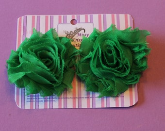 Green Shabby Chic Flower Hair Bow Hair Clips