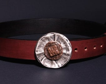Handmade leather belt with pasha old silver buckle - Mahogany-Antique look - To fit 83-104cm waist
