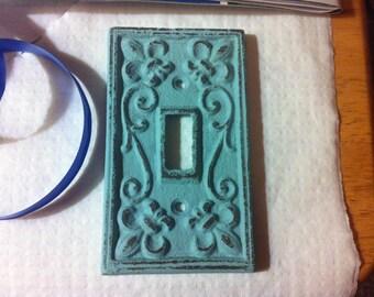 CAST IRON SWITCHPLATE Cover - Fleur de Lis - 2 3/4 x 4 5/8  - Home Decor