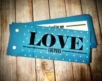Turquoise Love Coupon Book , Valentine, Blue BIrthday Gift for girlfriend, for wife, For HER, Last Minute DIY Printable, Instant Download