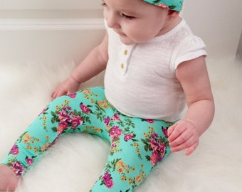 Teal Floral Leggings