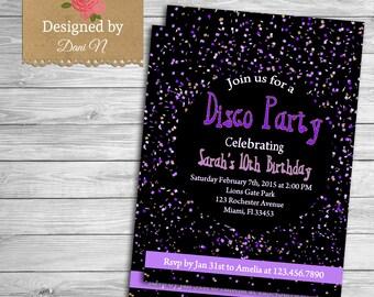 Disco party birthday invitation, confetti birthday invite, printable party,purple