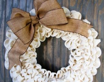 White Burlap Wreath with decoration