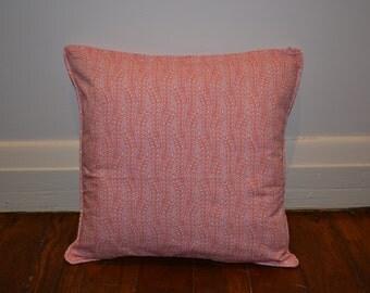 Pink Leafl Print Cushion Cover  - Cotton Fabric - 40cm x 40cm