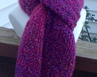 Purple Scarf Raspberry Scarf Knitted Winter Scarf