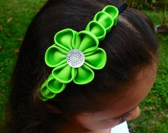 Lime green headband with kanzashi style flower