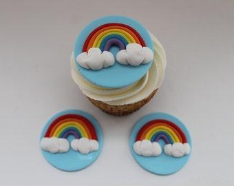 Fondant Rainbow Cupcake Disks, 12 pack