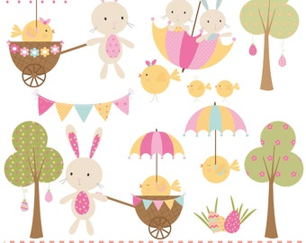 Easter playtime set,bunnies and chicks, printable digital clipart set.