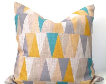 Grey and yellow cushion, scandi grey cushion, scandi pillow, triangles cushion cover, yellow and blue cushion