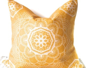Bohemian cushion cover hippie pillow cover in mustard yellow 18x18''