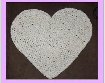 Newborn Baby Crocheted Heart Mat 50cm wide x 40cm high