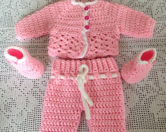 Baby Booties, Baby Cardigan, Baby Crochet Pants, Baby Beanie Set 4, Pink and White Crochet Baby Set