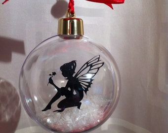 Acrylic Bauble with fairy in snow