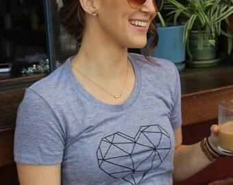 Gray/Athletic Gray, Tri-Blend Geometric Heart American Apparel Tshirt