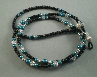 "Beaded lanyard necklace , eyeglasses holder with bead chain 28"" to 32"" teal and black glasses strap ,eyeglass leash"