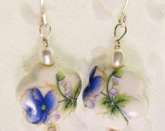 Sterling Silver Ceramic Flower Earrings