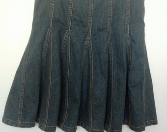 Early 1990's Denim Pleated Skirt