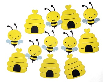 "Bumblebee and Beehive Die Cuts - 4"" Bee Cut Outs - Bumblebees and Beehives - Set of 12 Bee Cut Outs - Scrapbooking"