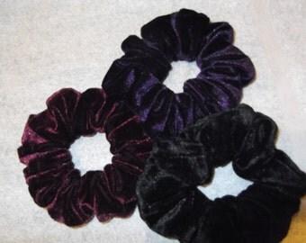 Velvet Hair Scrunchie, Black velvet,Aubergine velvet,Burgundy velvet