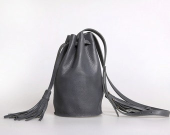 leather bucket bag small in black, grey or camel cow leather