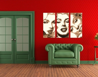 Marilyn Monroe - Hand Painted Canvas Acrylic Pop Art Oil Painting Gallery Wrapped Wall Art FRAMED