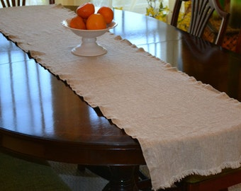 "Rustic Linen Table Runner, 90"" x 17"" (228 cm x 43 cm) Natural Organic Flax Linen, Textured Rustic Linen, Washable Linen"