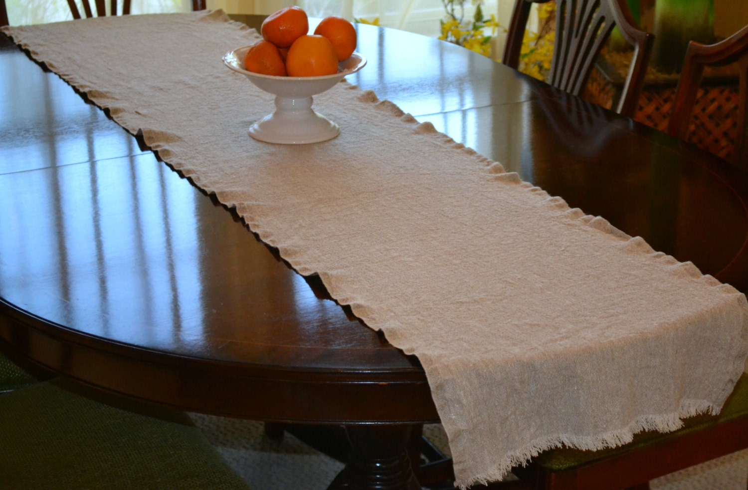 Rustic linen table runner 90 x 17 228 cm x 43 for Table linen color combinations