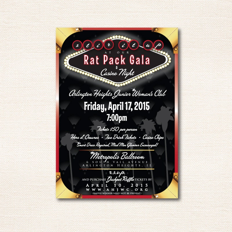Rat Pack Gala & Casino Night Invitation Double-sided