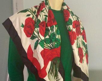 Ginnie Johansen Japanese Silk Scarf Bouquet Roses Green Red