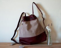NEW - Convertible Backpack, Extra Large Leather Backpack, Convertible Backpack Tote, Traveller Bag, Multi Pocket Bag, Convertible Hobo Purse