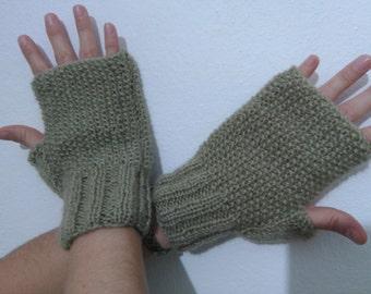 Drab/Light Khaki Fingerless Gloves, Women Gloves,Knitting Gloves, Knitting Khaki Gloves, Women Khaki Gloves,