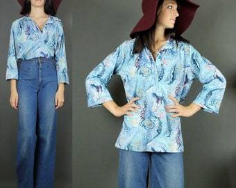 70's Blue Feathers Graphic Print Paisley Print Top Bell Sleeves Hippie Boho Shirt Top Peasant Festival M-L