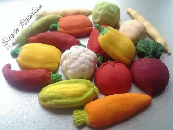 Edible Cake Decorations Vegetables : 15 Edible sugar vegetables cake cupcake toppers decorations