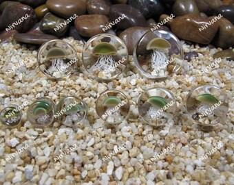 "Pyrex Glass Jellyfish Plugs - One Pair 0g 00g 7/16"" 1/2"" 9/16"" 5/8"" 3/4"" 1""  8 mm 10 mm 12 mm 14 mm 16 mm 18 mm 20 mm 22 mm 25 mm"