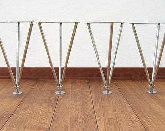 Table legs stainless steel, coffee table, gambe da tavolino, h:33 cm (13 inch), struttura, made in italy , set(4)