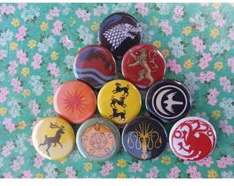 Game of Thrones Sigil Pinback Buttons