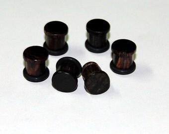 0g Ear Plugs - Burmese Blackwood, Hand Turned