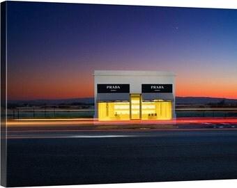 Large Prada Marfa Canvas - Color sunset texas gallery wrap home decor wall hanging fine art modern remote empty installment landscape