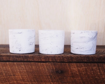 Trio of White and Grey Marbled Mini Vessels