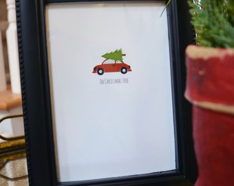 """Christmas Tree on Car Woody """"Oh Christmas Tree""""  Printable Instant Download"""