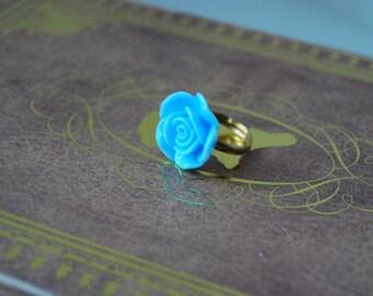 Light blue rose ring, Light blue ring, flower ring