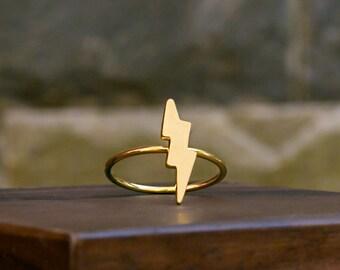 Lightning Bolt Ring, Silver Thunder Ring, 925 Sterling Silver, Minimalist, Length 17.5mm