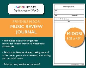 Midori Travelers Notebook Music Journal - Printable TN Music Journal