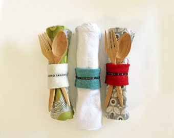 100% Handmade Wool and Leather Napkin Rings - Hand Stitched (set of four)