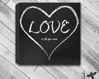 LOVE is all you need Chalk Board Heart - Wrapped Canvas Wall Art