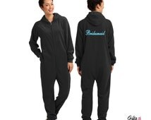Personalized Fleece Lounger with TItle or Name on the Back, Bridesmaid Pajamas, Bridesmaid Gifts