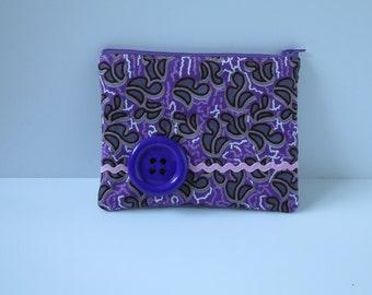 Sale 50% off Zipper pouch/make up purse - Purple & grey pattern (Ankara)